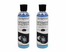QTY of 2- Optimum Metal Polish 8 oz.- car motorcycle chrome wheels rims aluminum