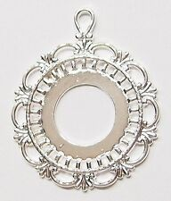 4 of 25 mm Round Silver Pendant Settings Fits 20-30 mm Cameos, Cabs, Coins Glass