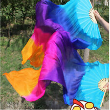 Belly Dance Rainbow Silk Fan Veil bule+purple+pink+orange 1.8m 1pair (L+R)