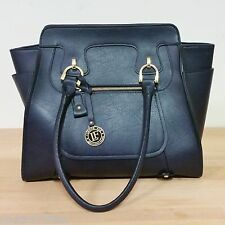 London Fog Knightsbridge North South Tote Vegan Faux Leather Navy Blue LFD5206