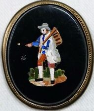 19th C Micro Mosaic Locket of Seed Sower Man in Onyx & Gold Filled Clasp, Italy