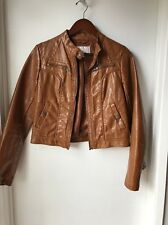 Brown Faux Leather Jacket, Women's Size S