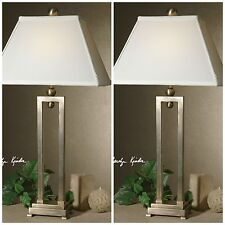 TWO SILVER ANTIQUED STAIN TABLE LAMPS WHITE RECTANGULAR BELL SHAPED SHADES LIGHT