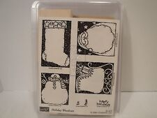 STAMPIN UP Holiday Woodcuts 6 Christmas Stamps Gift Tag Snowman Santa Retired