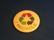 """""""I RECYCLE""""  Lot of 5 BUTTONS pin pinback 2 1/4""""  badge ECOLOGY GREEN SAVE EARTH"""