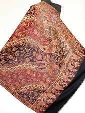 Large Wool Jamavar Paisley Pashmina Shawl Dramatic Elegance Black Red Reversible