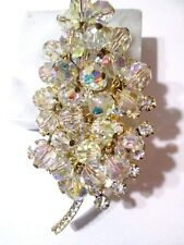 CRYSTAL & RHINESTONE ORNATE SPARKLING LEAF PIN DANGLE AB FINISH JULIANA D&E