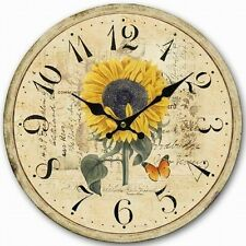 Retro Vintage Sunflower Butterfly Shabby Home Decor Wall Clock Wood 34CM