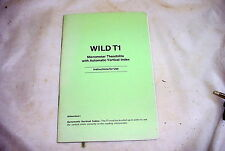 WILD T1 Micrometer Theodolite Automatic Vertical Index Instructions Manual