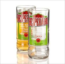 Pair Desperados Clear Rim Recycled Glass Mexican Beer Bottle Glasses Boxed