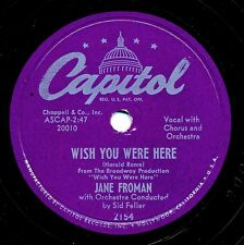 JANE FROMAN  on 1952 Capitol 2154 - Wish You Were Here / Mine