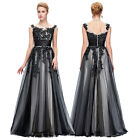 2016 Black Lace Sleeveless Tulle Ball Gown Evening Prom Party Dress Size UK 4-18