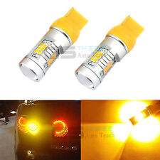 2x Amber Yellow 7440 W21W T20 3535SMD CREE LED Projector Turn Signal Light Bulbs