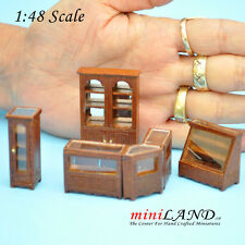 1:48 Scale store shop counters and shelves units 6pcs Walnut - Top Quality 1/48