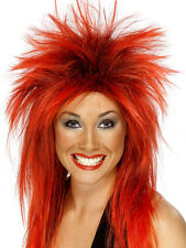 Ladies 80s 1980s 80's Rock Diva Mullet Fancy Dress Wig Red/Black New Smiffys