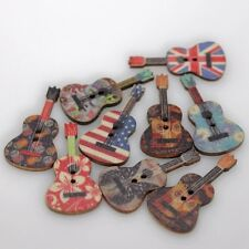 New Wood Buttons Guitar Shaped Kids DIY Sewing Scrapbooking Craft Random 50PCs