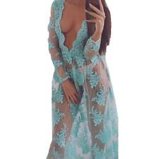 Perspective Sexy Women Mesh Lace Night Club Cocktail Evening Party Maxi Dress
