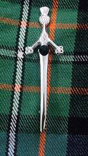 """New Scottish Kilt PIn Thistle Green Stone 4""""/Thistle Hilt Kilt Pins Chrome Finis"""