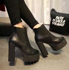 Hot Women Ankle Chunky Boots Zip Heel Platform High Heels Leather Knight Shoes