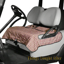 HERITAGE PLAID SEAT BLANKET for GOLF CAR Quilted Fleece Cart Bench Lap Leg Cover