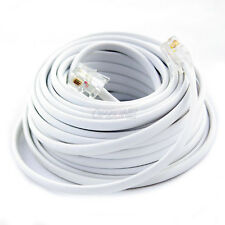 New 100Ft 100' Feet White Phone Line Cord DSL Cable