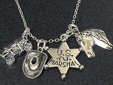 """Western US Marshall Covered Wagon Charm Tibetan Silver 18"""" Necklace"""