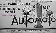 PUBLICITE AUTOMOTO TOUR DE FRANCE BICYCLETTE PARIS ROUBAIX VELO DE 1927 AD RARE