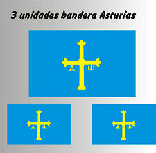 3 X Bandera de Asturias - PEGATINAS - VINILO - Pegatina - Sticker - Coche -Bici