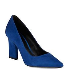 Nine West U Go Girl Blue Leather Suede Pointed Toe Dress Pumps 6 M New with Box