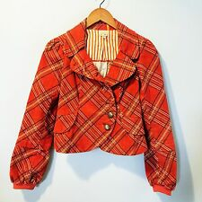 ANTHROPOLOGIE Plaid Tartan Corduroy Jacket Fitted Blazer Red SZ L