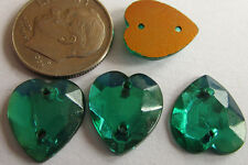 125 Vintage German Glass 13mm Teal Green Sew-on Faceted Flat Heart Stones