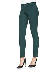 New $185 J BRAND 485 FORREST GREEN SATEEN MID SUPER SKINNY LEGGING JEANS 25 620
