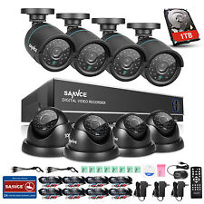 SANNCE 8CH 1080N DVR 1500TVL 720P IR CUT Home Video Security Camera System 1TB