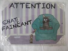 PLAQUE METAL DECORATION 10x15cm CHAT FAINEANT chien animal domestique maison