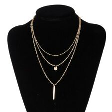 Fashion Womens Chunky Gold Alloy Chain Multi-layers Retro Party Necklace Jewelry