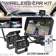 "Wireless 2x IR CCD Reversing CCD Camera + 7"" Rear View Monitor For Caravan 24V"