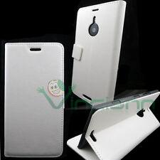 Custodia BIANCA pelle per Nokia Lumia 1520 BOOKLET stand+porta schede sottile