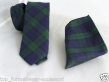 "(A) Tartan Watch-Green/Blue/Black Mens Skinny Necktie & Hanky Set-2.5""=6cm Width"