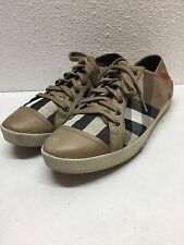 Burberry Vintage House Check Canvas Tan leather Cap toe Sneakers Womens Size 38