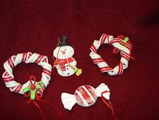 """Lot 4 Christmas Ornaments Wrapped Candy /2-  Ribbon Candy Wreaths/ Snowman 3.5"""""""