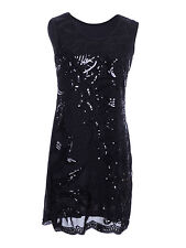 Anna-Kaci S/M Fit Sequin Embellished Braided Rope Swirl Applique Dress Black