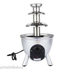 Home Stainless Steel 3 Tiers DIY 34cm Party Commercial Chocolate Fountain UKPLUG