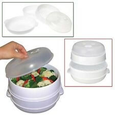 2 Tier Microwave Steamer Microwavable Food  Cooker  Vegetables Fish Shrimp NEW