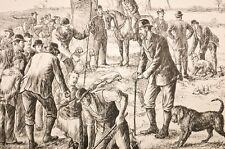 """scène de chasse anglaise, extrait journal """"the illustrated sporting """" 1880"""