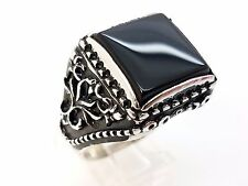 Heavy 14 Gram Black Onyx 925 Sterling Silver HMD Turkish Ottoman Ring 12.5 USA