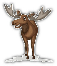 Happy Moose Car Bumper Sticker Decal 4'' x 5''