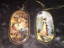 "The Bradford Exchange ""Heavenly Protector"" & ""Lending A Hand"" Angel Ornaments"