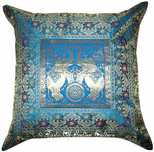 "XL 24"" Turquoise Cushion Cover Elephant Brocade Pillow Throw INDIAN Floor Decor"