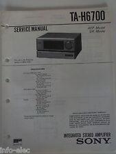 Schema SONY Manuale Di Servizio Integrated Amplificatore Stereo TA-H6700 TAH6700
