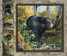 Wild Wings Basic Black Bear in Woods Cotton Fabric Pillow Panel